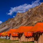 Gold Drop Camp (tented accomodation) at Sarchu The camp (at 14,432 feet) along the so-called Leh-Menali Highway is between the Baralacha La and Lachulung La Passes, near the boundary between Himachal Pradesh and Ladakh in India.